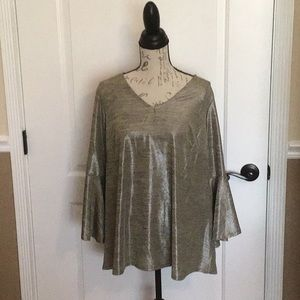1X Valerie Stevens Gold Blouse with Bell Sleeves